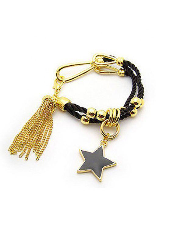 affordable Stylish and Fashion Star Shape Pendant Tassels Double Bracelet For Women - BLACK