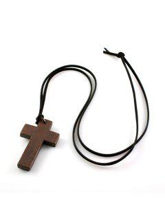 Stylish Simple Style Cross Shape Sweater Chain For Women - Deep Brown