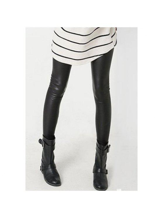 fancy Faux Leather Leggings - BLACK ONE SIZE(FIT SIZE XS TO M)