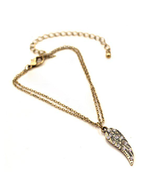 hot Stylish Style Double-Deck Chain Design Wing Pendant Rhinestoned Women's Anklet - GOLDEN