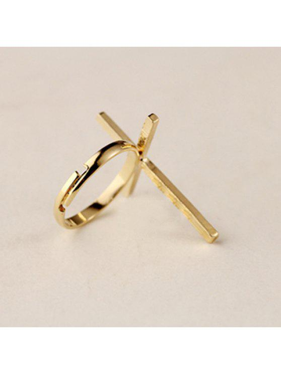 chic Vintage Cross Shape Embellished Women's Ring - GOLD ONE SIZE