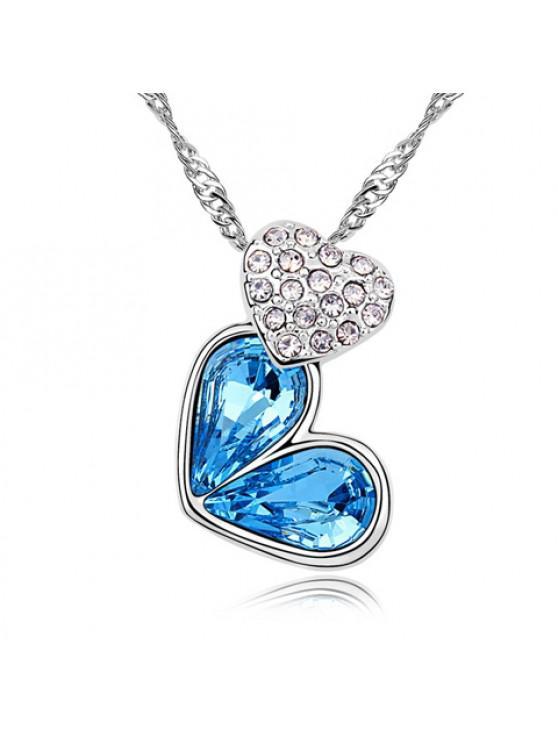 Collar Moda de Diamantes de Imitación Corazón Decorado de las Mujeres - Lago Azul