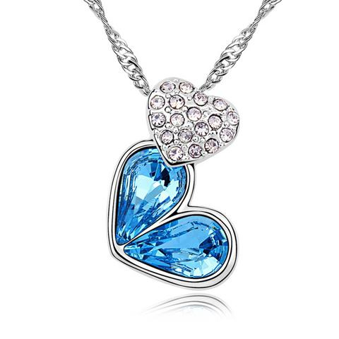 Alloy Rhinestoned Heart Decorated Pendant Necklace thumbnail
