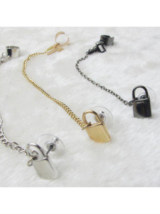women's Vintage Key and Lock Embellished Women/Men's Clip Earring - COLOR ASSORTED
