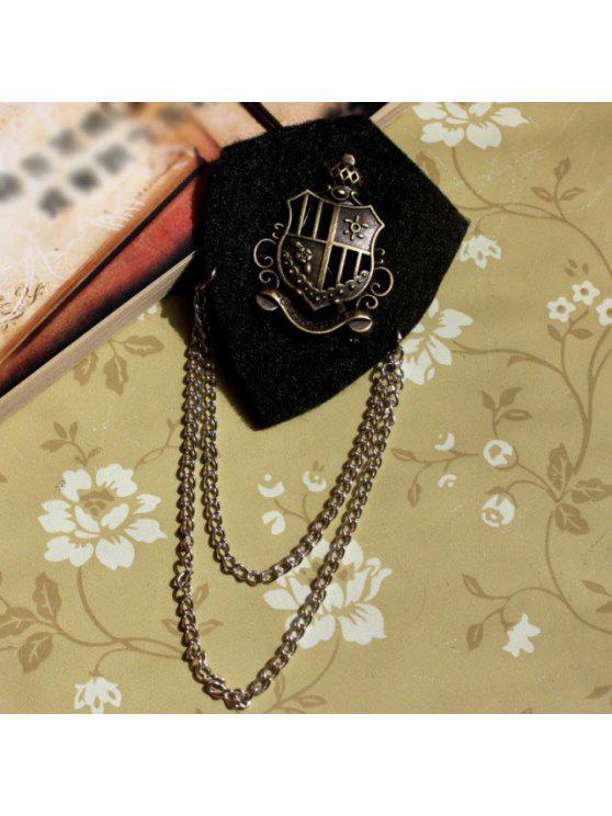 online Elegant Alloy Crown Embellished Long Tassels Men's Nonwoven Brooch - BLACK