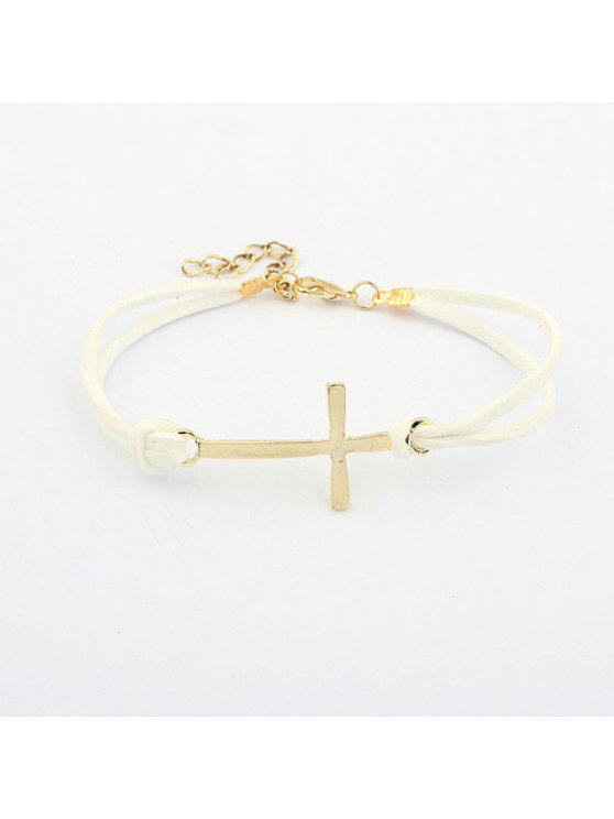 outfits Simple Hot Sale Bilayer Leather Embellished Women's Cross Shape Bracelet - COLOR ASSORTED