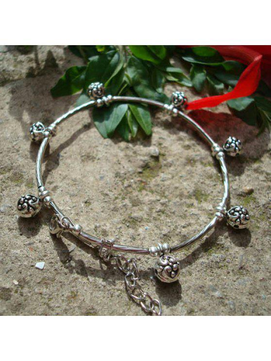 fancy Retro Style Embellished Flower Pendant Tibetan Silver Anklet For Women - SILVER