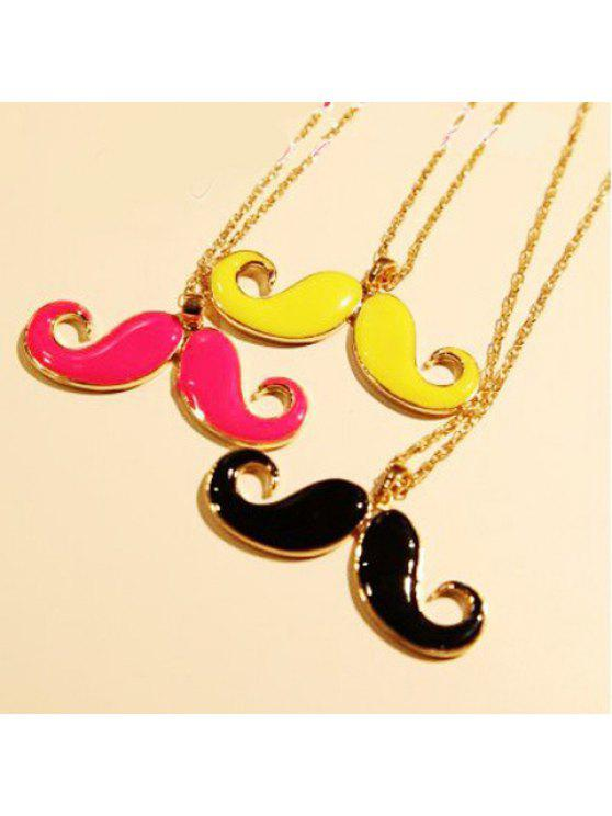 unique Cute Vivid Colored Solid Moustache Shaped Pendant Alloy Sweater Chain Necklace For Women - COLOR ASSORTED