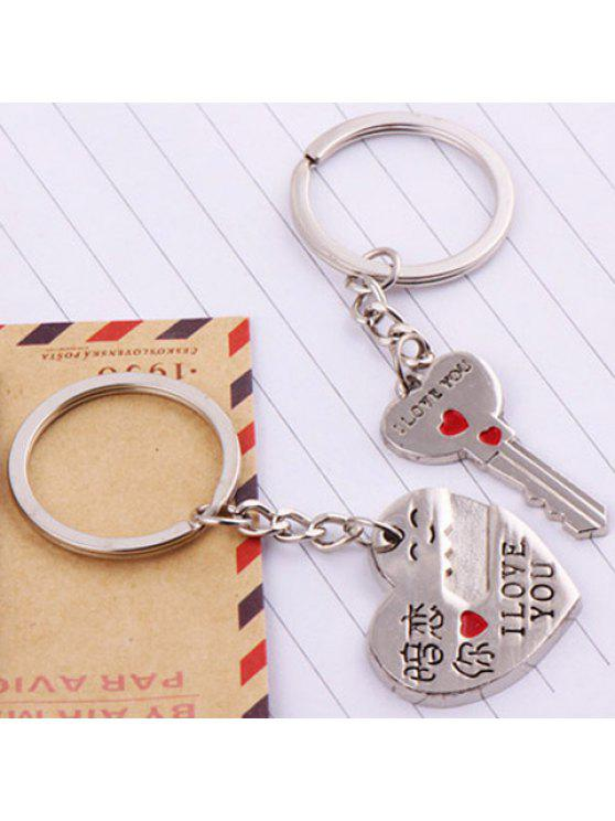 chic Pair of Stylish Key Shape Character Letter Carved Keyrings For Lovers - SILVER