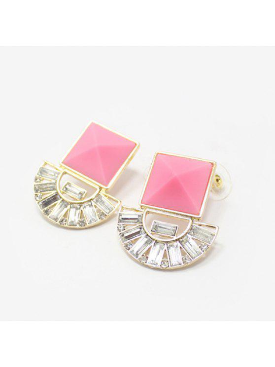 ladies Pair of Stylish Resin Rhinestone Fan Shape Openwork Women's Earrings - COLOR ASSORTED