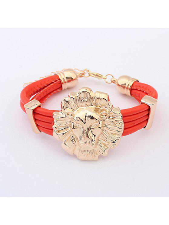 affordable Fashion Lion Head Embellished Colored Cuff Bracelet For Women - COLOR ASSORTED