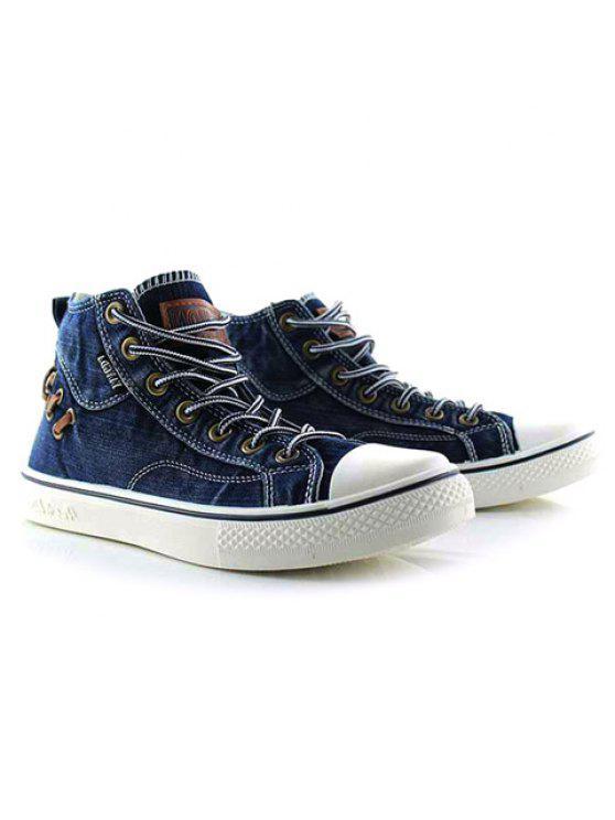 عالية أعلى الدانتيل يصل قماش الأحذية - أزرق 42