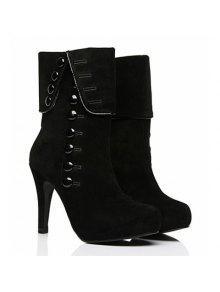 أضعاف فوق زر منتصف العجل الأحذية - أسود 39