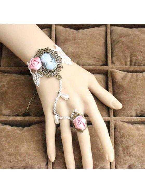 ladies Elegant Beauty Embellished Rose Lace Charm Bracelet With Ring For Women - AS THE PICTURE ONE SIZE
