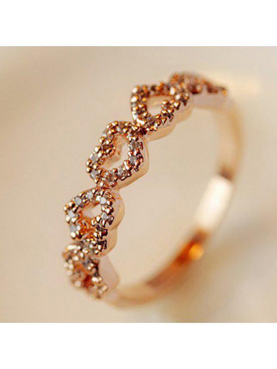 shop Romantic Rhinestone Heart Ring For Women - COLOR ASSORTED ONE SIZE