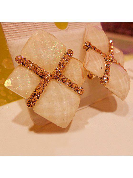 chic Pair of Bling Bling Diamante Colored Geometric Earrings For Women - WHITE