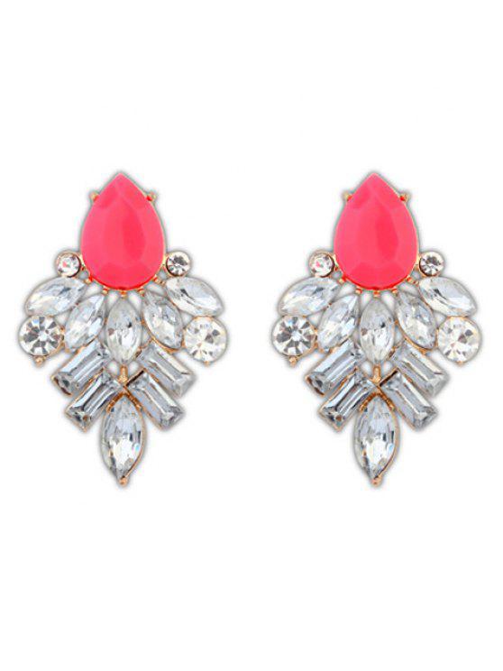 unique Pair of Delicate Rhinestoned Waterdrop Shape Stud Earrings For Women - ROSE