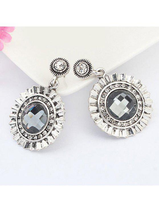 chic Pair of Vintage Delicate Round Faux Gem Drop Earrings For Women - BLACK