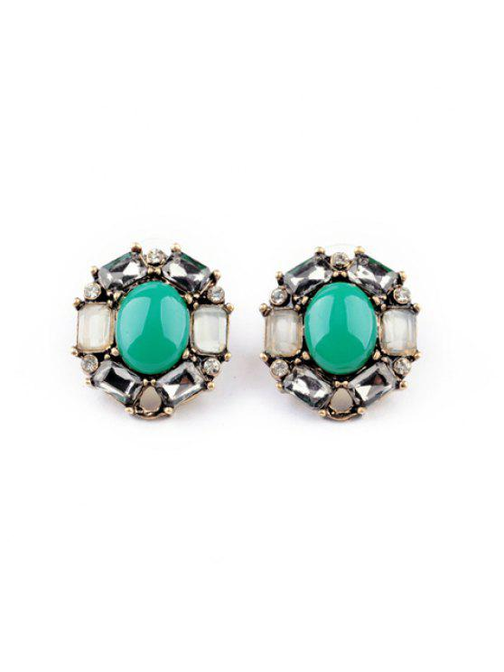 affordable Pair of Simple Hot Sale Round Faux Gem Stud Earrings For Women - AS THE PICTURE