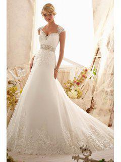Trendy Sweetheart Neck Beaded Applique Wedding Dress -