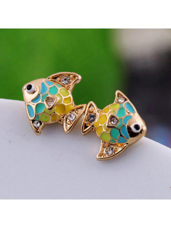 buy Pair of Sweet Rhinestone Color Glazed Fish Earrings For Women - AS THE PICTURE