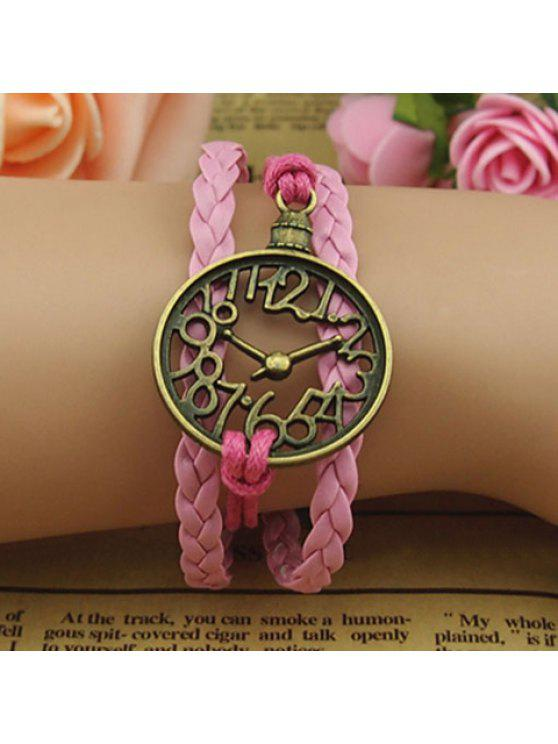 chic Cute Hollow Clock Embellished Colored Knitted Multilayered Charm Bracelet For Women - AS THE PICTURE