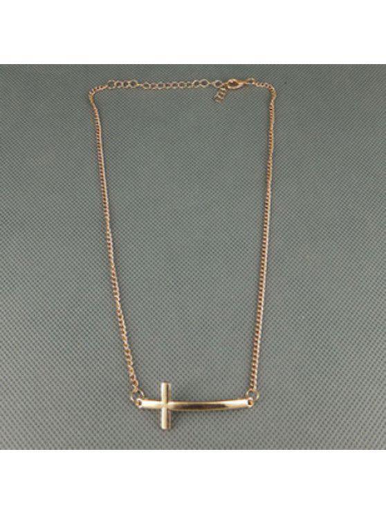 fashion Simple Cross Pendant Necklace For Women - GOLDEN