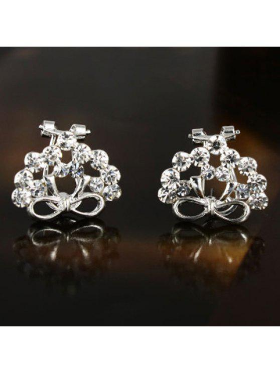 trendy Pair of Chic Solid Color Rhinestone Bowknot Earrings For Women - AS THE PICTURE