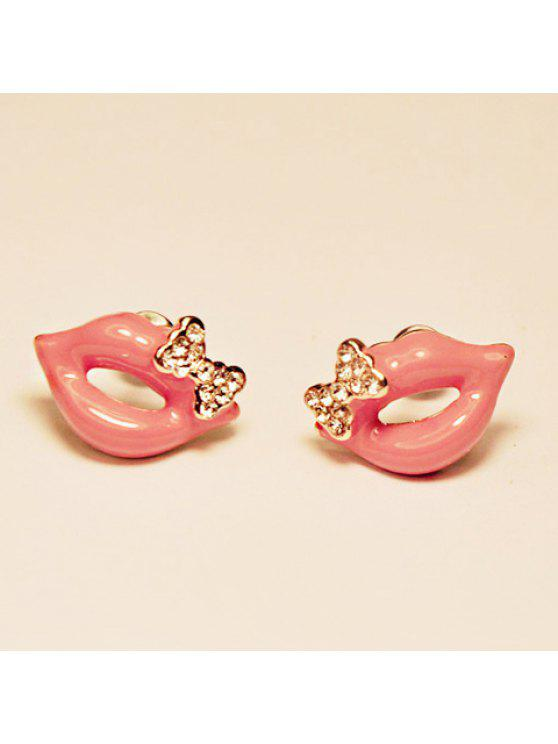 unique Pair of Brilliant Bowknot Decorated Lip Pattern Stud Earrings For Women - PINK