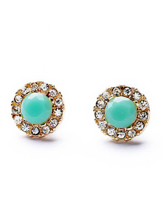 best Pair of Delicate Colorful Rhinestone Embellished Round Stud Earrings For Women - AS THE PICTURE