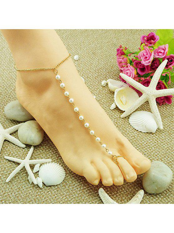 womens Exquisite Faux Pearl Embellished Simple Design Barefoot Sandal For Women - GOLDEN
