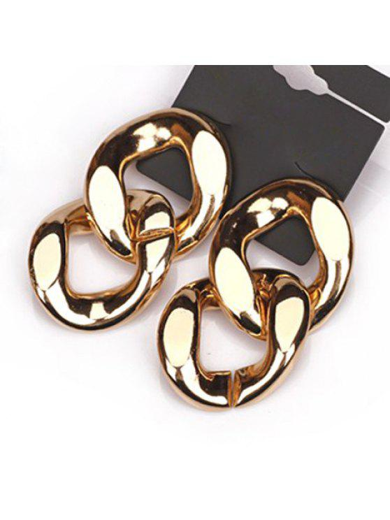 affordable Pair of Punk Double-Layer Ring Pendant Earrings For Women - AS THE PICTURE