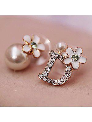 Pair of Asymmetric Letter D and Flower Shape Pearl Stud Earrings For Women