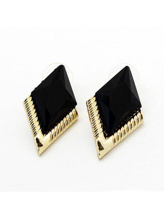 fashion Pair of Sweet Diamond Shape Gem Earrings For Women - BLACK