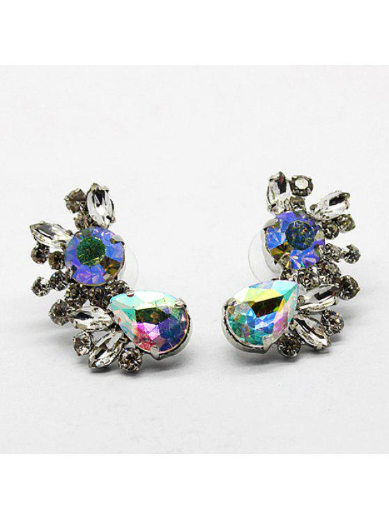 unique Pair of Chic Colored Rhinestone Earrings For Women - AS THE PICTURE