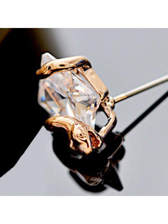 shops Pair of Chic Snake Shape Rhinestone Earrings For Women - ROSE GOLD