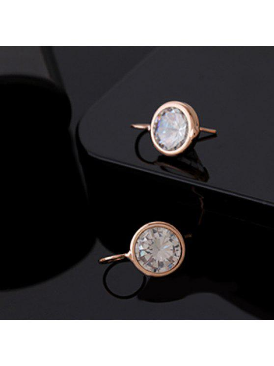 outfit Pair of Chic Round Shape Rhinestone Inlaid Earrings For Women - ROSE GOLD