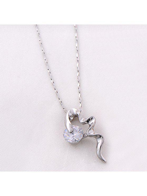 shop Delicate Faux Crystal Decorated Irregular Shape Pendant Necklace For Women - SILVER