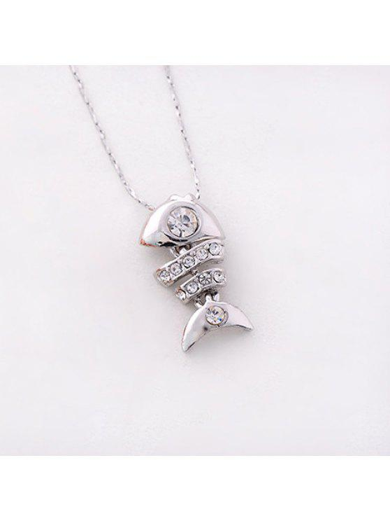 buy Cute Rhinestone Embellished Fish Bone Necklace For Women - SILVER