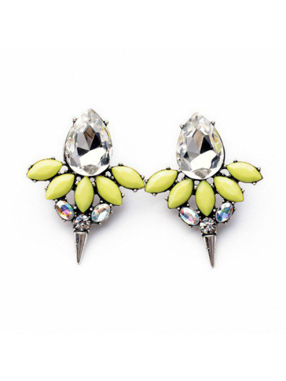 latest Pair of Delicate Colorful Waterdrop Shaped Faux Crystal Pendant Earrings For Women - BLUISH YELLOW