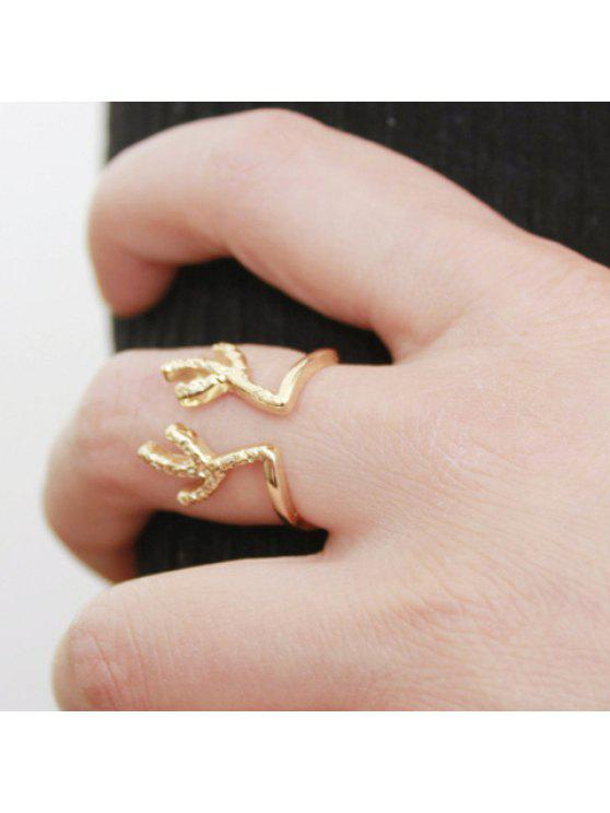 trendy Vintage Antler Shaped Cuff Ring For Women - GOLDEN ONE-SIZE