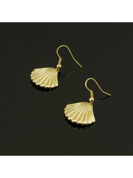 womens Pair of Fashion Shell Shaped Pendant Earrings For Women - GOLDEN