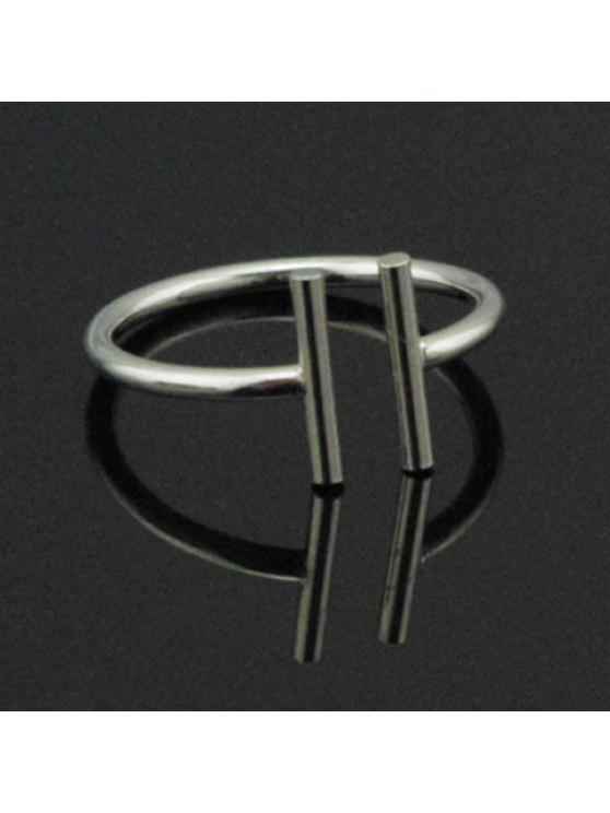 fashion Vintage Simple Design Parallel Cuff Ring For Women - SILVER ONE-SIZE
