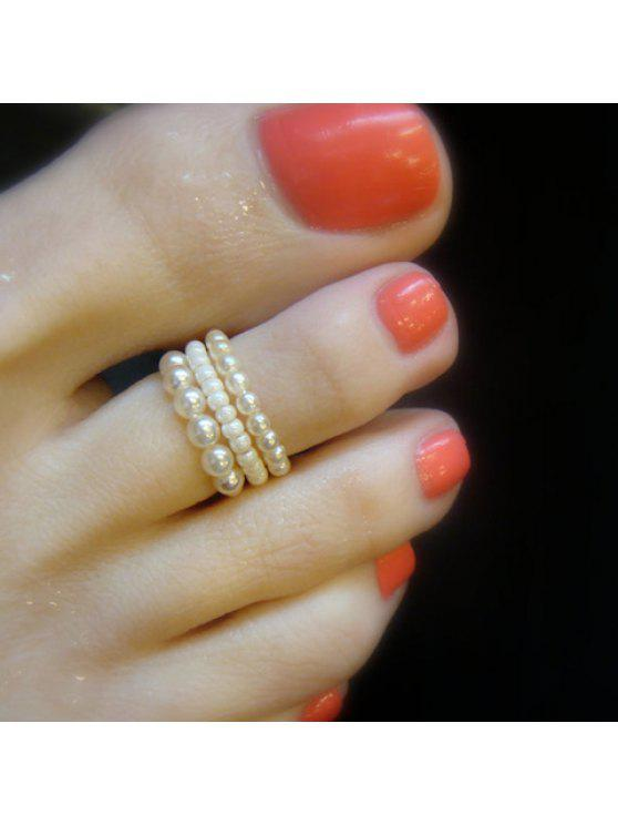best 3PCS Vintage Faux Pearl Embellished Beads Feet Rings For Women - WHITE ONE-SIZE