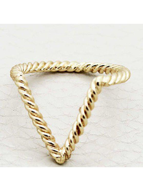 chic Vintage V-Shaped Simple Design Ring For Women - RANDOM COLOR PATTERN ONE-SIZE