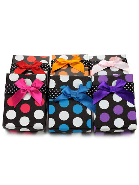 affordable ONE PIECE Cute Dot Pattern Ribbon Bowknot Jewelry Box For Women - COLOR ASSORTED