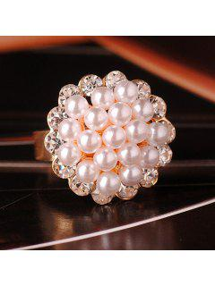 Stylish Faux Pearl And Rhinestone Embellished Floral Cuff Ring For Women - One-size