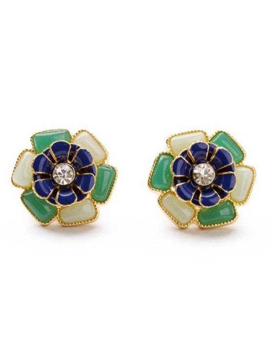 chic Pair of Gemstone and Rhinestone Embellished Flower Shape Earrings For Women - AS THE PICTURE