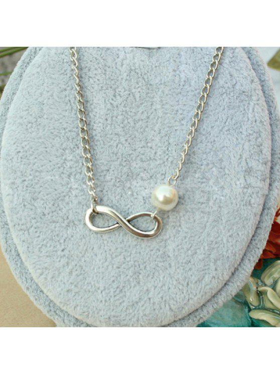 buy Fashionable Solid Color Faux Pearl Embellished Bowknot Shape Women's Necklace - COLOR ASSORTED