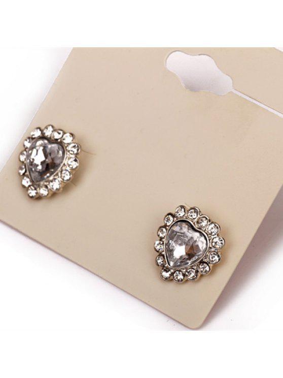 online Pair of Sweet Rhinestone Embellished Heart Shape Women's Earrings - COLORMIX